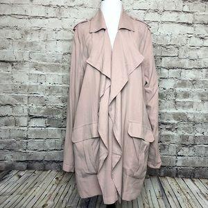 Trouve Pink Fawn Drape Military Jacket Size XL